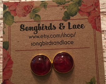 Red earring on gold setting- 12mm