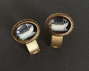 Vintage Cameo Cuff Links depicting Ancient Roman or Greek Vessel on Gold Metal Alloy Statement Pieces