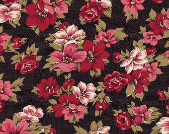 ON SALE Classic Elegance Floral on Black Quilt Fabric by the 1/2yd
