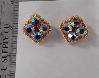 Gold toned aurora borealis clip on earrings