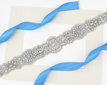 Bridal Belt, Wedding Belt, Sash Belt, Crystal Sash Belt, Wedding Sash Belt, Rhinestone Belt, Clear Crystal Belt, Beaded Sash Belt B183.3