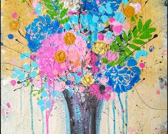 Abstract Flower Painting, original artwork, colorful painting, flower vase art, Originals on canvas, 16x20 inch