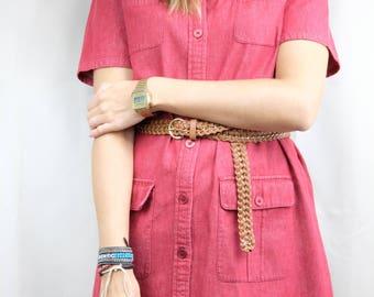 Red shirt dress / Short red dress with matching belt / Reclaimed vintage clothing / Medium / UK 10 12 / US 6 8 / EU 38 40