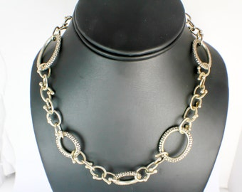 Silver Dappled Necklace with Oval Chain Links and Sterling Silver in Handmade Vintage Necklace Design