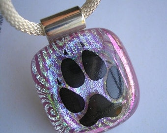 "SPRING SALE Pawprint Pendant, Dichroic Fused Glass, Pink & Silver Dichroic, 20"" Silver Mesh Necklace Cord, Dog and Cat Lovers Jewelry, Dichr"