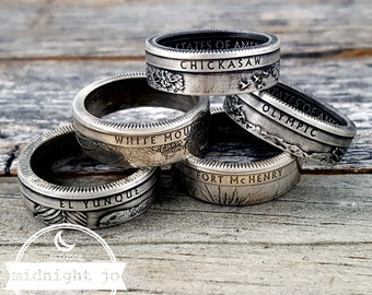 Silver National Park Coin Ring - 90% Silver Coin Rings - National Parks Quarter Rings- Quarter Coin Rings- Silver Quarter Ring- Nature Lover