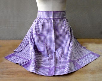 Lavender Checked Apron with Pocket -  Vintage Purple and White Half Apron