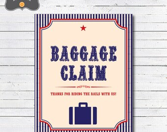 Train Baggage Claim Sign, Train Favors Party Sign, Printable PDF Sign, Instant Download