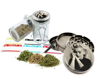 "Marilyn Monroe - 2.5"" Zinc Alloy Grinder & 75ml Locking Top Glass Jar Combo Gift Set Item # 50G012516-18"