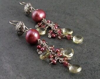 Pink pearl earrings, handmade lemon quartz, mystic pink topaz earrings-Wild Irish Rose OOAK silver jewelry, June birthstone