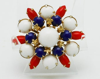 Brooch Red White and Blue