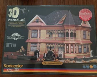 3D Photoscape Puzzle Painted Ladies Gingerbread House Kodacolor Puzzle - Vintage New in Box