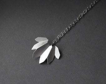 """18"""" Silver Chain Necklace, Flower Charm Necklace, Leaf Chain Necklace, Silver Charm, Statement Silver Necklace, Botanical Jewelry"""
