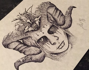 Fine line dotwork, gothic horned girl A4 print. (Not tattoo flash) - please do not reproduce.