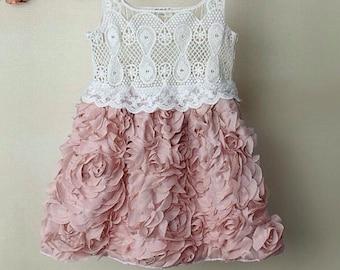 Shabby Chic Rosette Dress - Lace Dress - Girls Rosette Dress - Vintage Dress