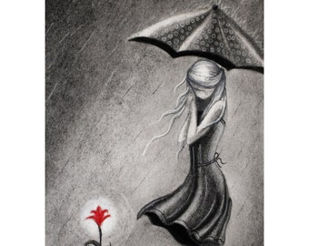Umbrella Lady and her flower - 8x10 Watercolor Print - Charcoal Drawing, Original Artwork - Day 47 Print