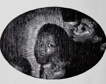 """Woodcut print """"Meninos"""""""