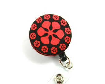 FLOWER Fabric Button Reel, Retractable badge Reel, Flower Lanyard, Flower Badge Reel