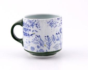 Floral Coffee Mug // White Cobalt Blue Green Yellow // Porcelain // Handmade Wheel Thrown Pottery