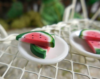 Miniature Watermelon Slices on Plate Fairy Food ~ Tiny Watermelon for Fairies ~ Mini Dollhouse Fruits ~ Miniature Garden Fruit for Fairies