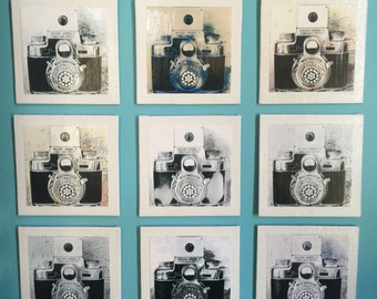 Art Box Atelier -:- Canvas Mounted Prints - Up Cycled  Pinhole Camera - Bolsey Twin Lens Reflex Camera - Collection of 9 Prints - Wall Decor