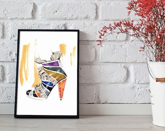 shoe lover print, fashion illustration, fashion wall art - 2 sizes available giclee print
