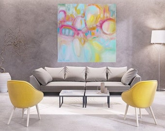 "Extra large pink and Navy abstract acrylic on canvas 48""x48"", modern abstract wall canvas in blush and navy,trending now on Etsy,calming art"