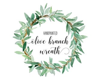 INSTANT DOWNLOAD Watercolor olive branch wreath in Digital art | greenery | clipart | green