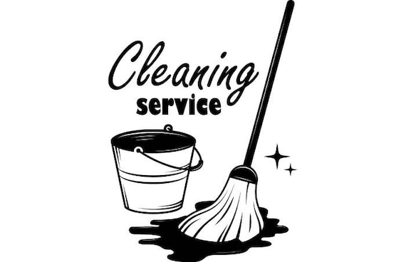 Cleaning Logo #7 Maid Service Housekeeper Housekeeping Clean Floor Mop Mopping .SVG .EPS .PNG