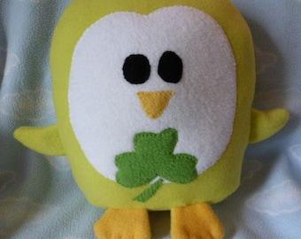 Plush Irish Shamrock Penguin Pillow, Baby Safe, Machine Washable