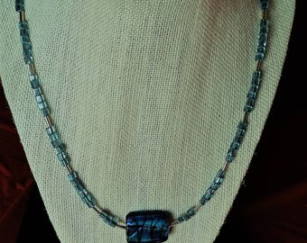 Blue Mother of Pear Necklace