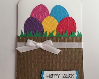 Handmade Easter Card, Happy Easter, Basket, Eggs, Easter Eggs, Easter Basket