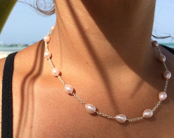 Pink Fresh Water Pearl Sterling Silver Necklace