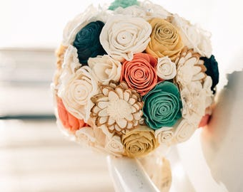 Wedding Bouquet, Bridal Bouquet, Bridesmaid bouquet, Sola Flowers Ivory/ pink/ green/ yellow/ gray colors, Natural Wedding Bouquet