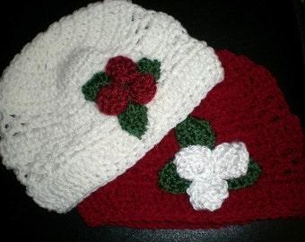 Hats, Beanies, Patterns, Crochet, Crochet Patterns, Hats, Beanies, Girls, Christmas, Red, White, Green,