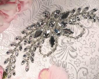 """XR119  Bridal Sash Accessories Silver Crystal Clear Rhinestone Applique Embellishment 7.5""""     XR119-slcr"""