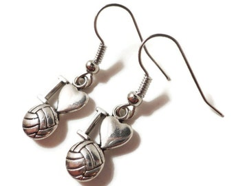 I Love Volleyball Earrings, Silver Volleyball Charm Earrings, Sport Earrings, Metal Dangle Earrings, Women and Teen Jewelry, Gift Idea