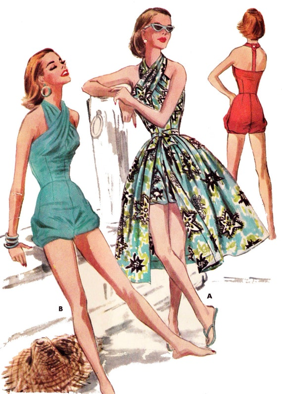 1950s Sewing Patterns | Dresses, Skirts, Tops, Mens 1956 Swim or Play Suit & Skirt - A 1950s Favorite!  EvaDress Patterns $20.00 AT vintagedancer.com