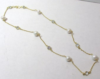 "Pearl Necklace, Pearl Topaz Necklace, Rosary Necklace, 18"", Pearl Rosary, White Topaz, Layering Necklace, Gold Vermeil, Freshwater Pearl"