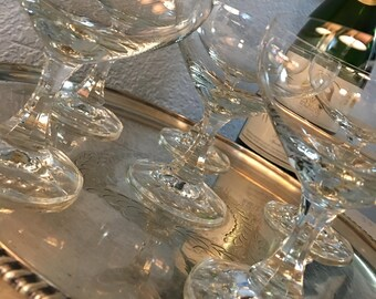 "Fabulous ""Made in Western Germany"" Crystal Champagne Coupes, Set of 6, c. 1949.  The Perfect Toast!"