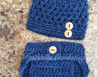 Gorro recién nacido... Cubierta de pañal... Listo para enviar... Apoyo de fotografía que azul conjunto