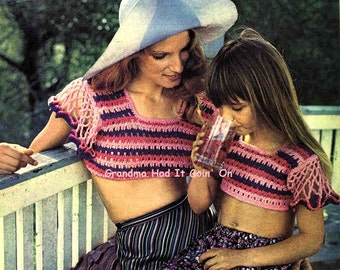 Crochet Cropped Top Patterns - Mother and Daughter Tops - PDF Instant Download - Hippie Sun Top - Beach Top - Digital Pattern - Halter Top