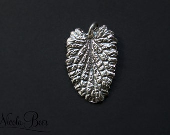 Fine Silver Real Leaf Pendant or Charm