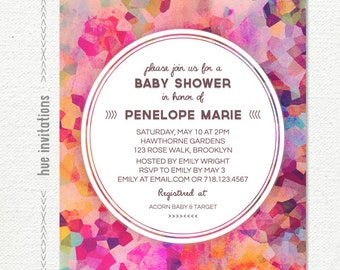modern geometric baby shower invitation, watercolor baby sprinkle invitation, pink magenta purple violet blue, digital 5x7 jpg pdf 564