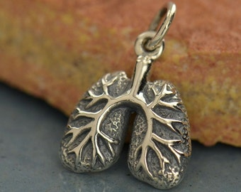 Sterling silver anatomically correct human lungs charm - diy make your own jewelry - add to your necklace