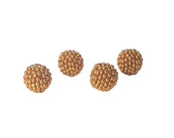 Dark Gold color beaded beads handmade 12mm beads 4pcs