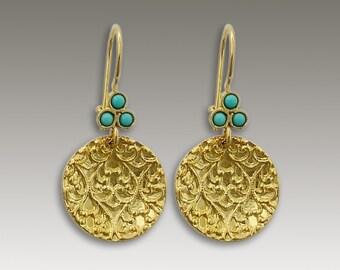 Solid gold earrings, Turquoise earrings, Disc earrings, filigree earrings, bridal earrings, 14k gold earrings - Merchant Of Venice EG2096