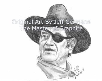 Rooster Cogburn - John Wayne - -Original 8X10 Pencil Drawing