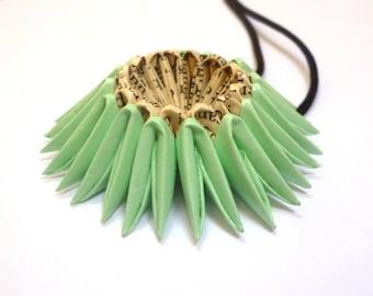 Jade Green Origami Sunburst Necklace - Paper Necklace