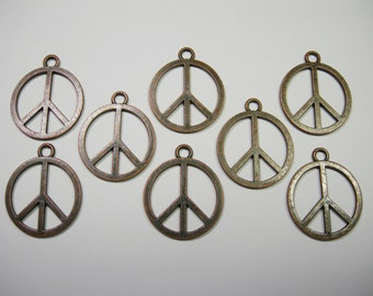 SPECIAL - Antiqued Copper plated Peace Sign Drops, pendants -8